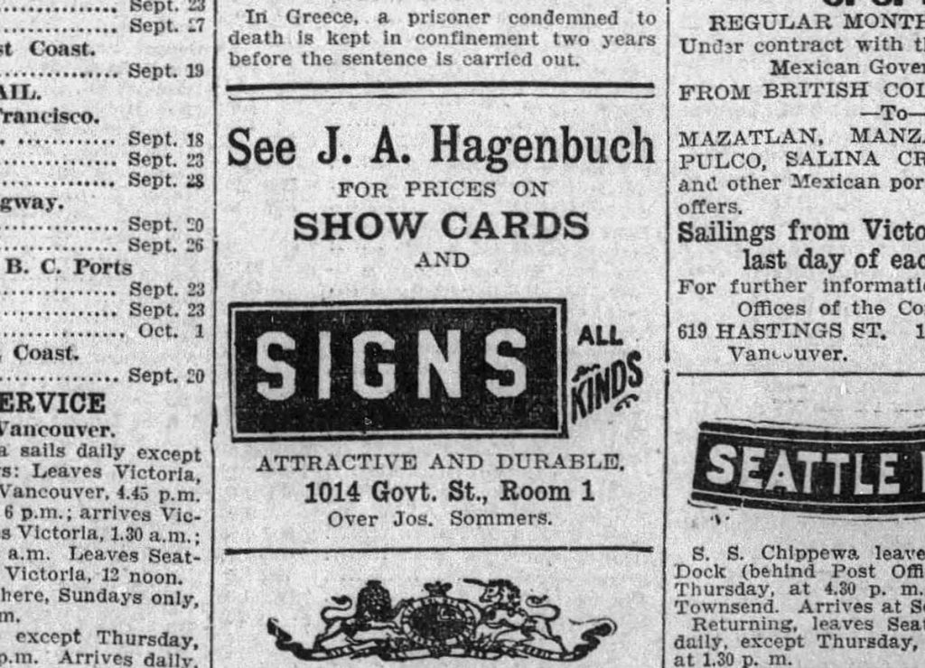 Jack Hagenbuch Sign Painter 1908