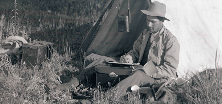 Klamath River Tent Man Writing Journal