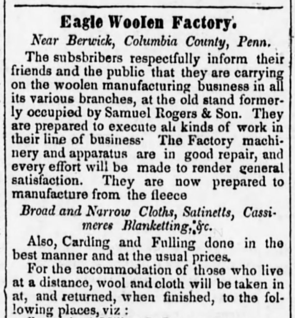 Eagle Woolen Factory 1850