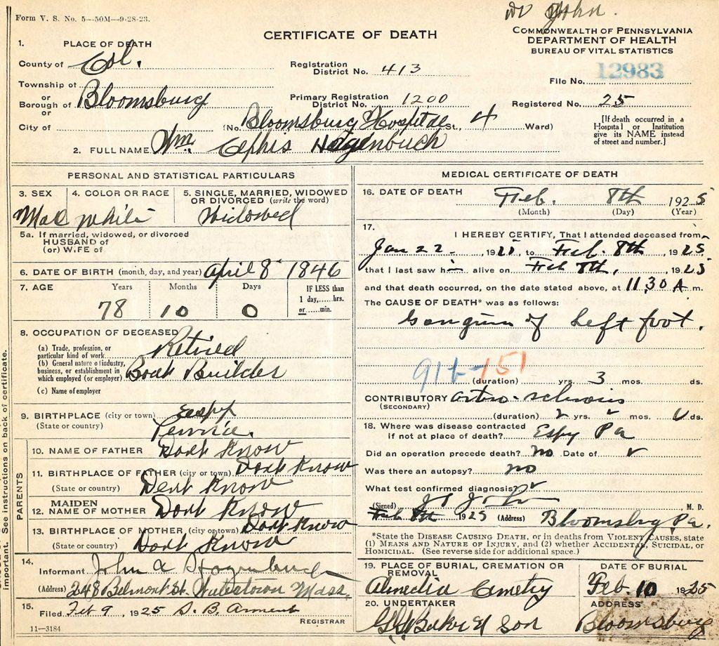 Death Certificate William Cephis Hagenbuch