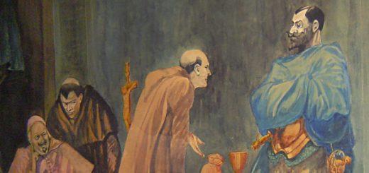 William L. Hagenbaugh Painting Monk with Conquistador