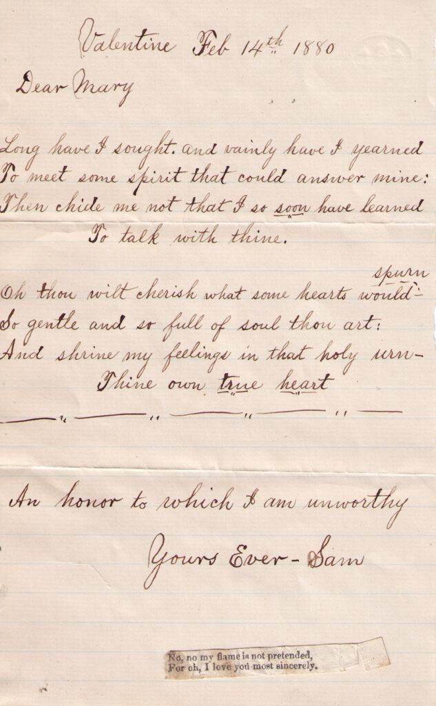 Sechler, Davis Letter Feb. 14, 1880