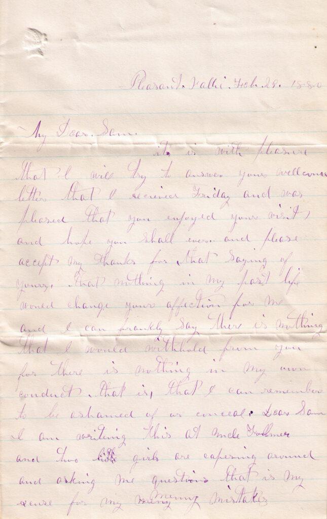 Sechler, Davis Letter Feb. 29, 1880