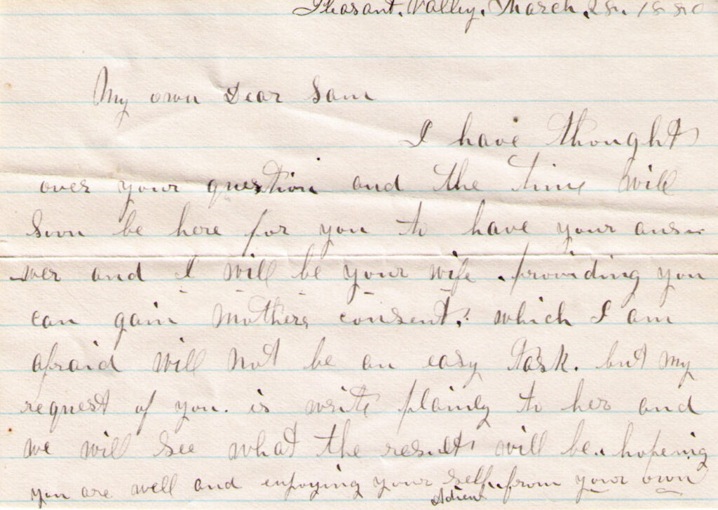 Sechler, Davis Letter, March 26, 1880