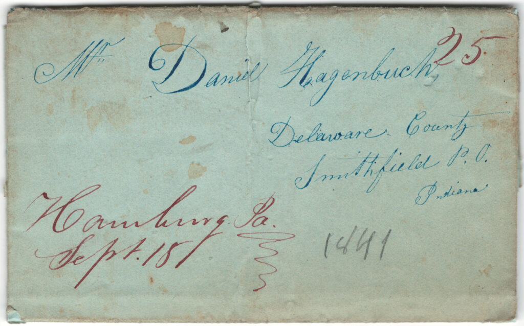 Daniel Hagenbuch 1841 Letter Front