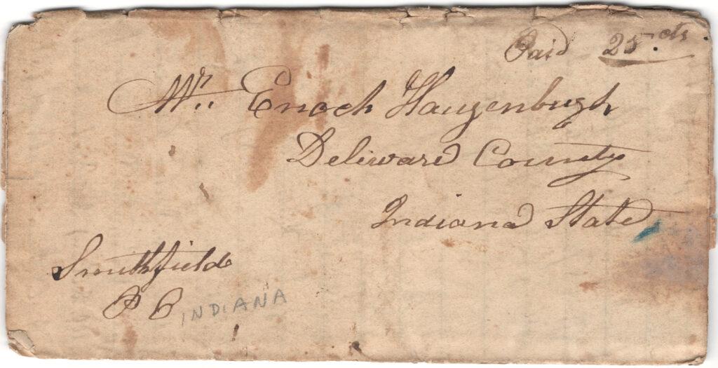 Enoch Hagenbuch 1839 Letter Front