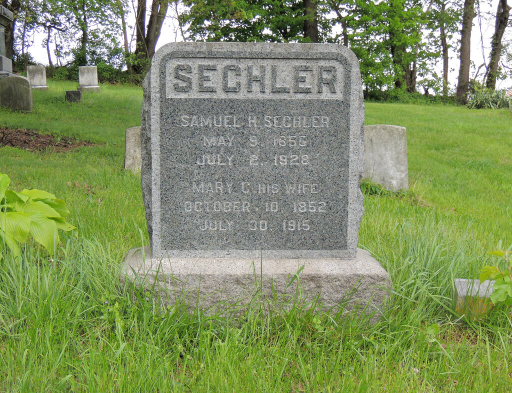 Gravestone of Samuel and Mary (Davis) Sechler