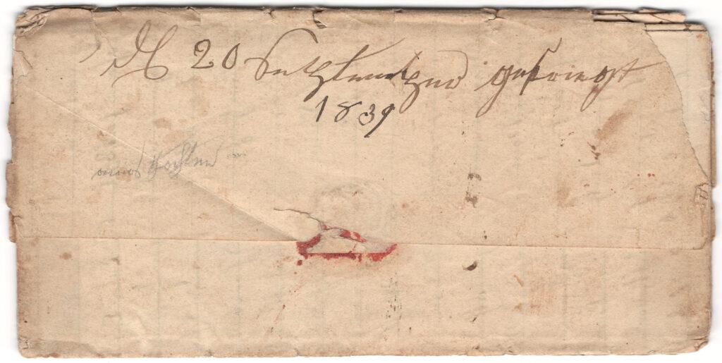 Enoch Hagenbuch 1839 Letter Back