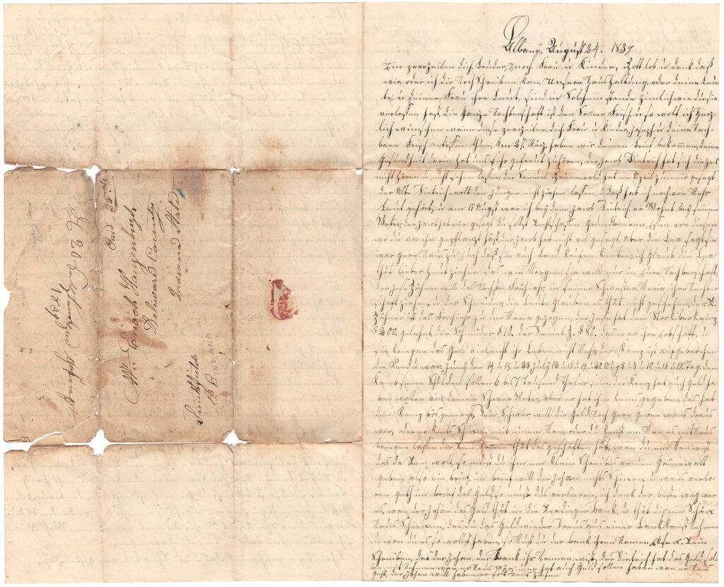 Enoch Hagenbuch 1839 Opened Letter Side One