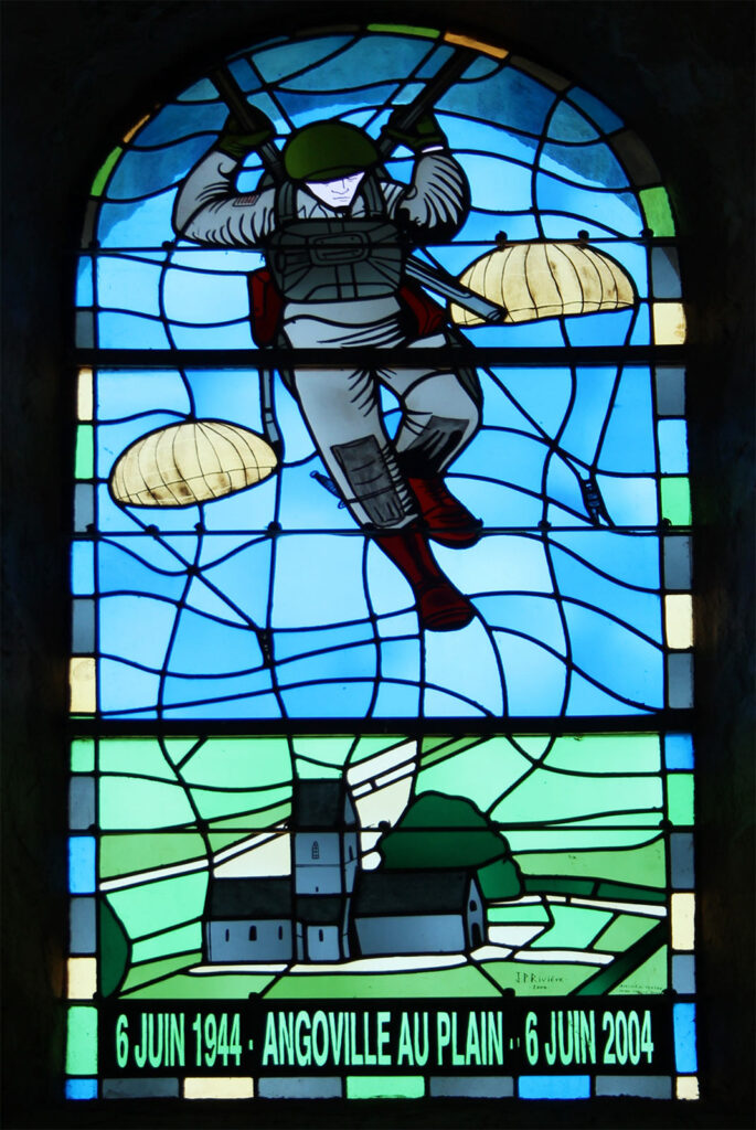 Angoville-au-Plain Church Stained Glass American paratroopers