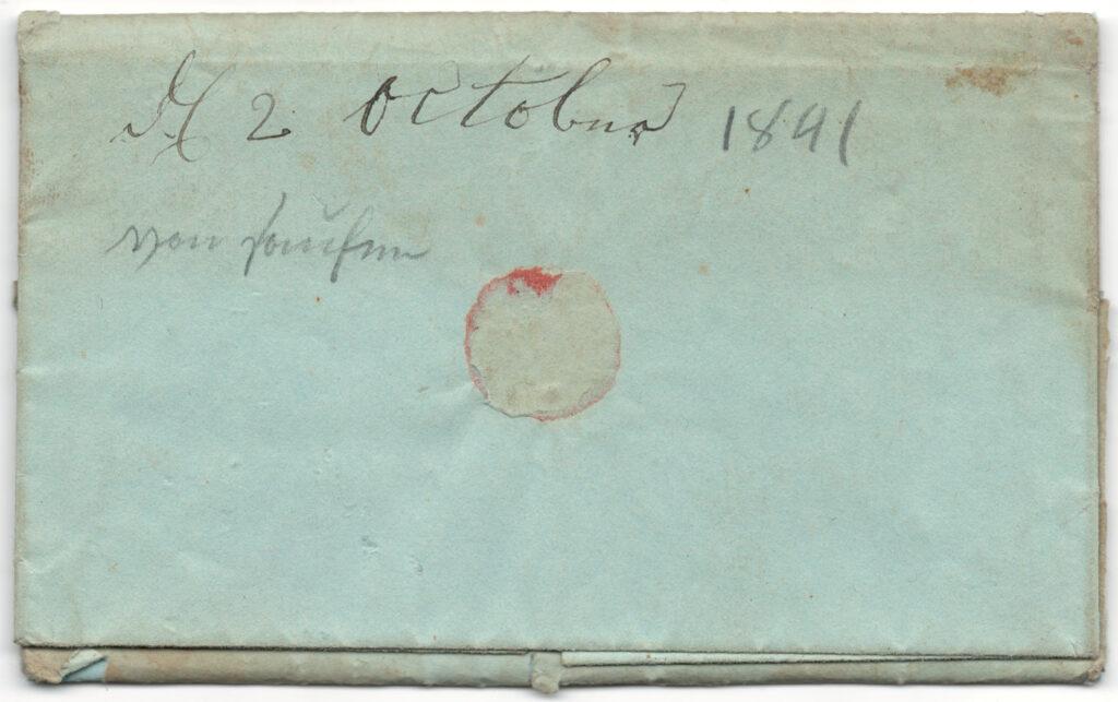 Daniel Hagenbuch 1841 Letter Back