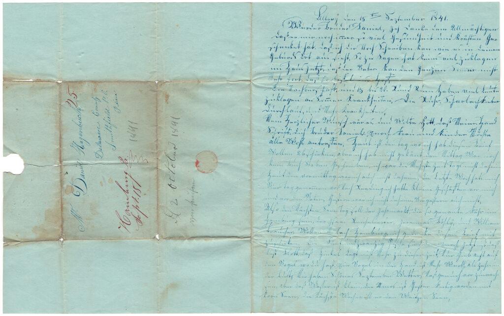 Daniel Hagenbuch 1841 Opened Letter Side One