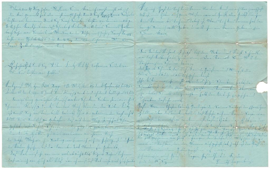 Daniel Hagenbuch 1841 Opened Letter Side Two