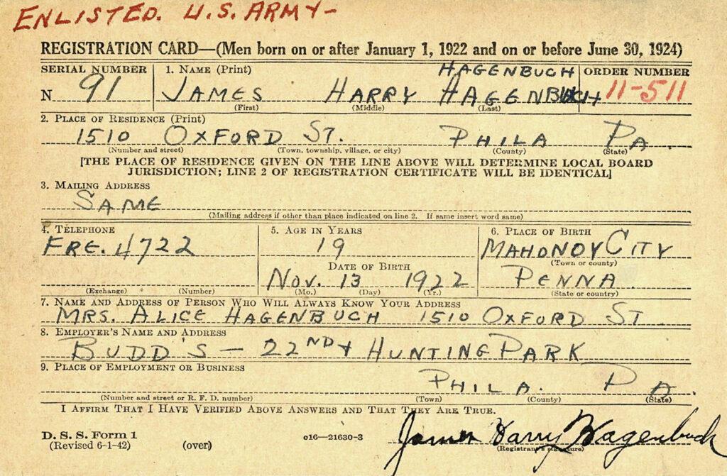 James Hagenbuch Selective Service Card