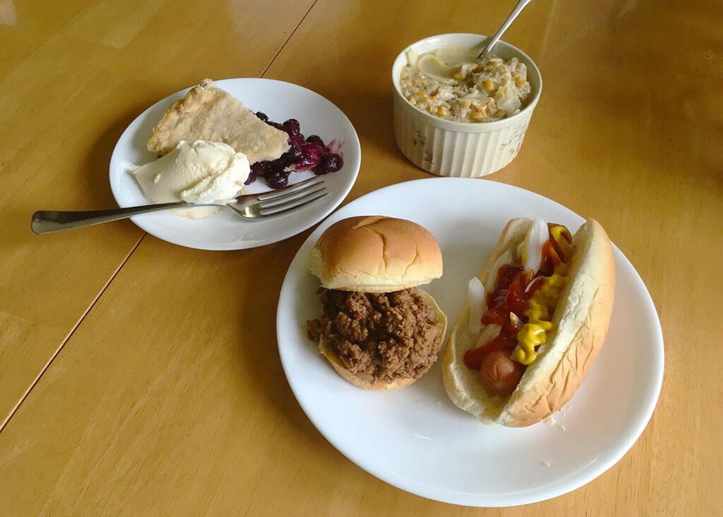 Pie, Ice Cream, Hamburger BBQ, Hot Dog, and Chicken Corn Soup