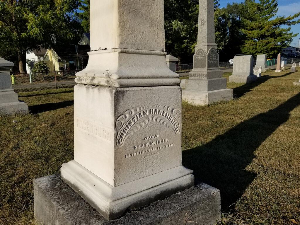 Christian Hagenbuch Stone in Fairfield Cemetery, Fairborn, OH