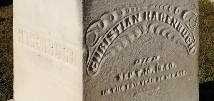 Detail of Christian Hagenbuch Stone in Fairfield Cemetery, Fairborn, OH