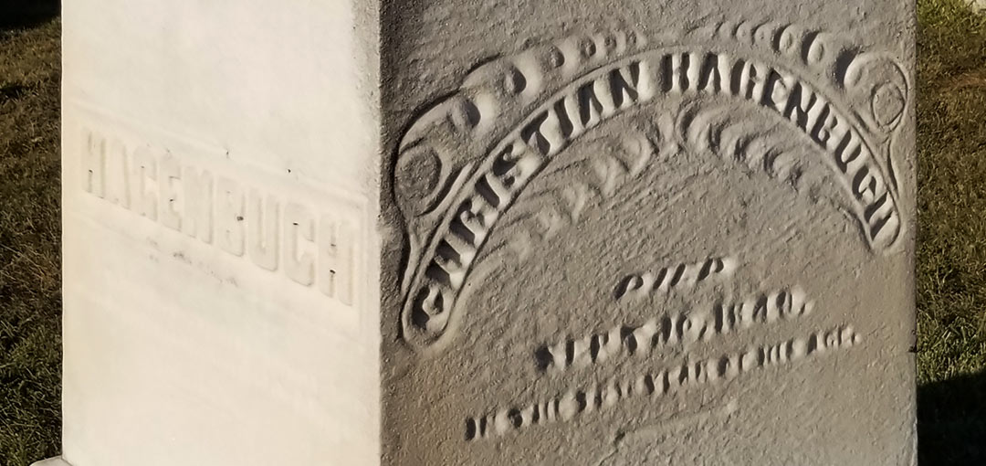 Detail of Christian Hagenbuch Stone in Fairfield Cemetery, Fairborn, OH