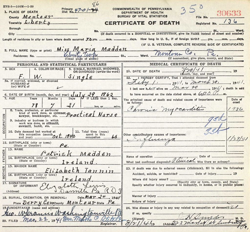 Mariah Madden Death Certificate