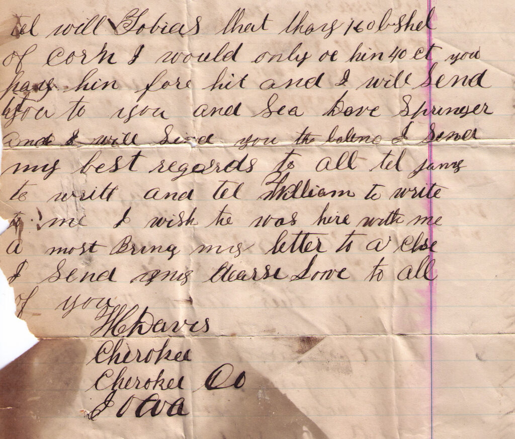 William Davis 1884 Letter Back