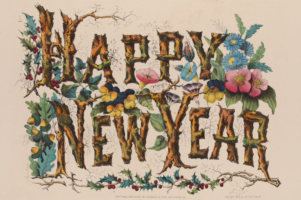 Happy New Year, Currier & Ives, 1876