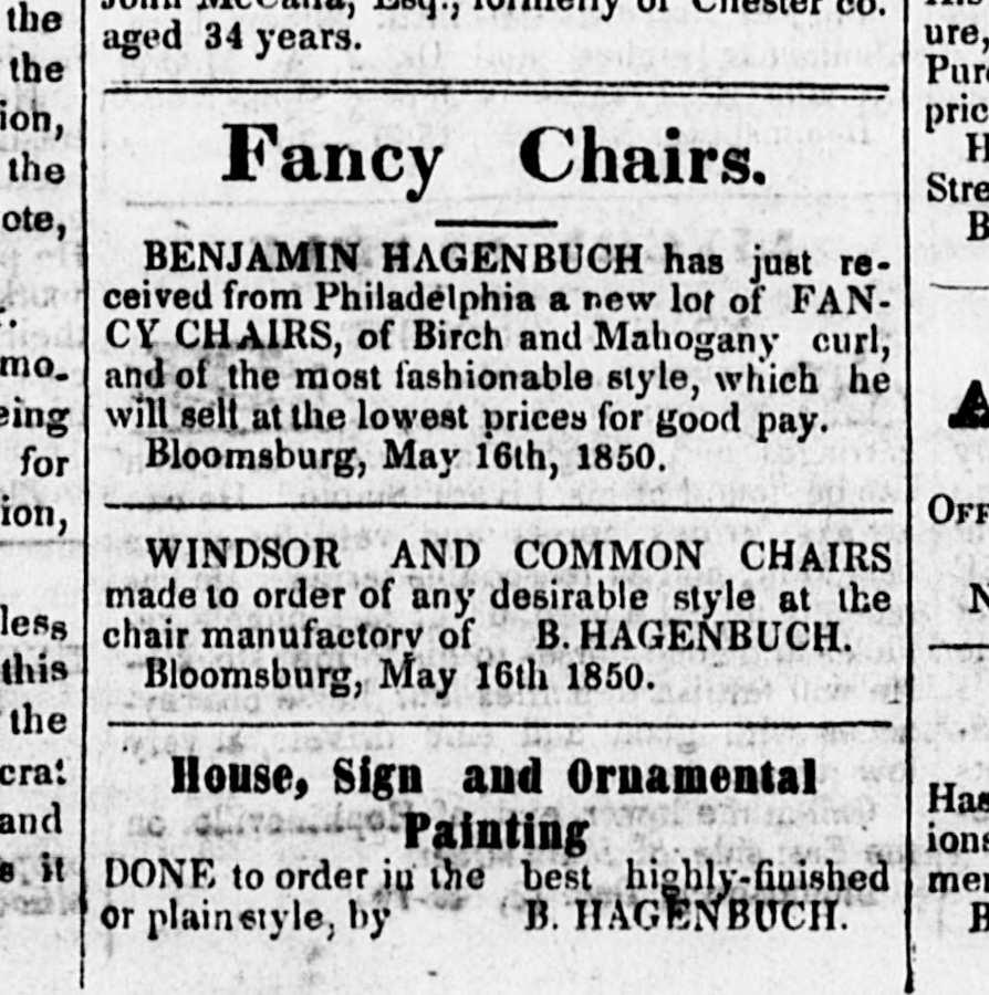 Benjamin Hagenbuch Chairs, Painter, 1850