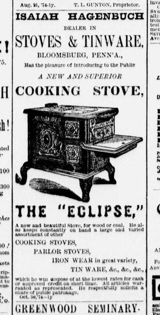 Eclipse Stove, Isaiah Hagenbuch, 1874