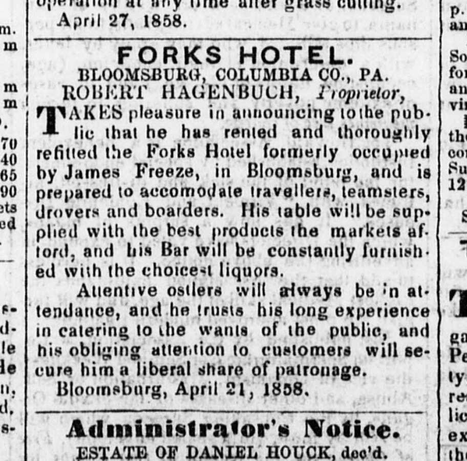 Forks Hotel, Robert Hagenbuch, 1858