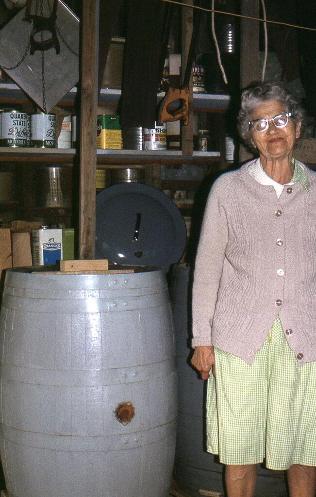 Minnie (Hilner) Faus, Sauerkraut Barrel