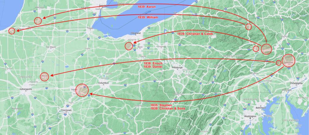 Pennsylvania, Ohio, Indiana, Michigan