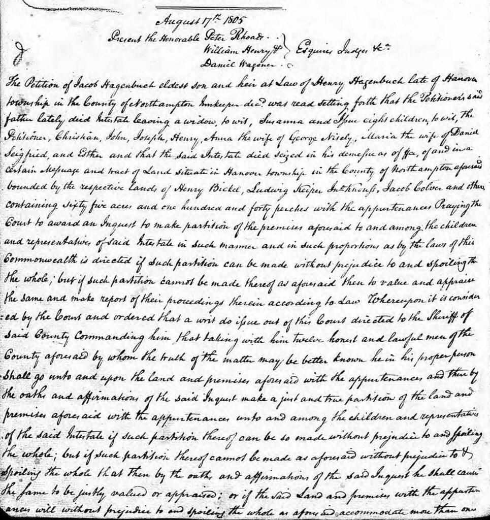 Henry Hagenbuch Probate August 17, 1805